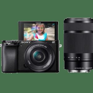 Sony Alpha a6100 con lentes de 16-50 mm y 55-210 mm